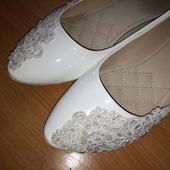 Svatební balerínky s krajkou, 41