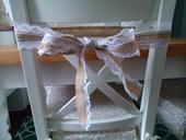 Mašle na židle - jutová stuha s krajkou 1,7 m,