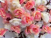 Umělé růžičky / růže rozvité 50ks (růžová, bílá),
