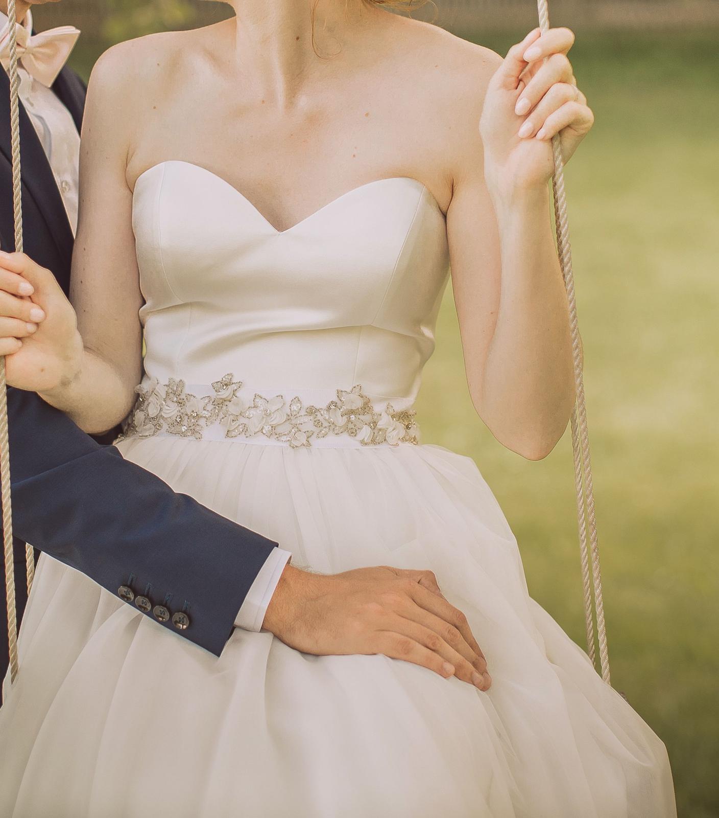 Svatební komplet - saténový korzet s tylovou sukní - Obrázek č. 1