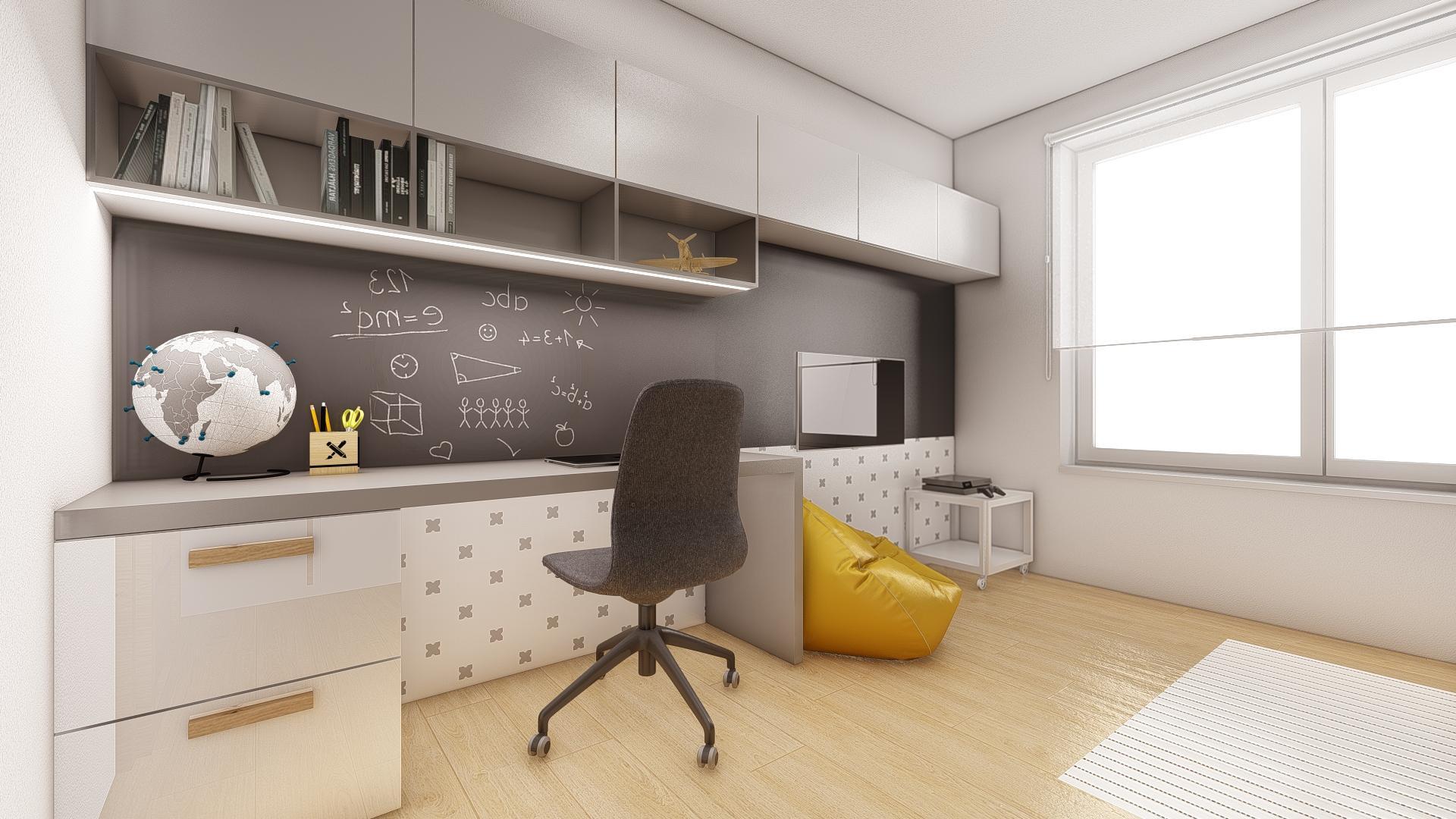 Návrh a 3D vizualizácia detskej izby, pre 11 ročného chlapca.  V izbe sa už nachádzala pôvodná šatníková skriňa, ktorú sme oživili drevenými úchytkami. ;-)   Potrebujte aj Vy pomôcť pri zariaďovaní? Kontaktuje nás a my pre Vás ZDARMA pripravíme nezáväznú cenovú ponuku. - Obrázok č. 1