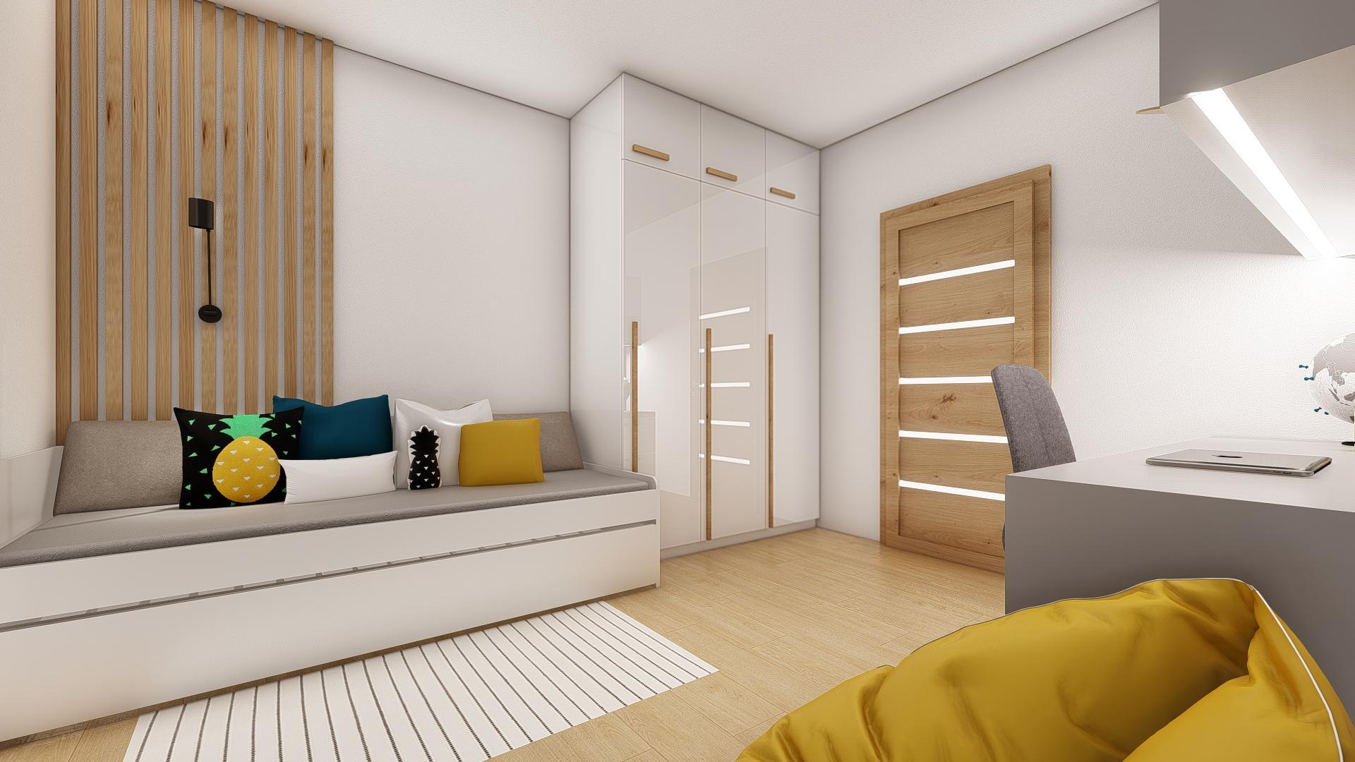 Návrh a 3D vizualizácia detskej izby, pre 11 ročného chlapca.  V izbe sa už nachádzala pôvodná šatníková skriňa, ktorú sme oživili drevenými úchytkami. ;-)   Potrebujte aj Vy pomôcť pri zariaďovaní? Kontaktuje nás a my pre Vás ZDARMA pripravíme nezáväznú cenovú ponuku. - Obrázok č. 3