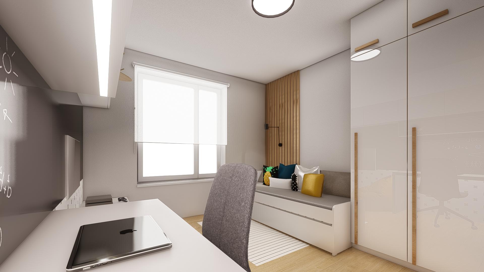 Návrh a 3D vizualizácia detskej izby, pre 11 ročného chlapca.  V izbe sa už nachádzala pôvodná šatníková skriňa, ktorú sme oživili drevenými úchytkami. ;-)   Potrebujte aj Vy pomôcť pri zariaďovaní? Kontaktuje nás a my pre Vás ZDARMA pripravíme nezáväznú cenovú ponuku. - Obrázok č. 2