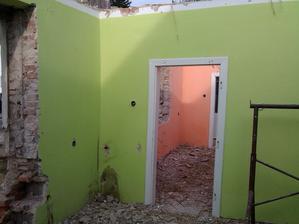 ložnice a obývák při bourání
