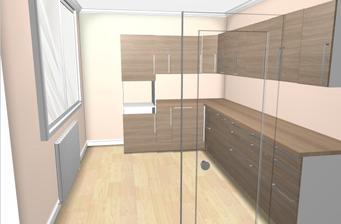 vlevo jak je mezera je ta typická paneláková spíž, do které si jen zasadíme nové dveře v barvě kuchyňské linky:-)