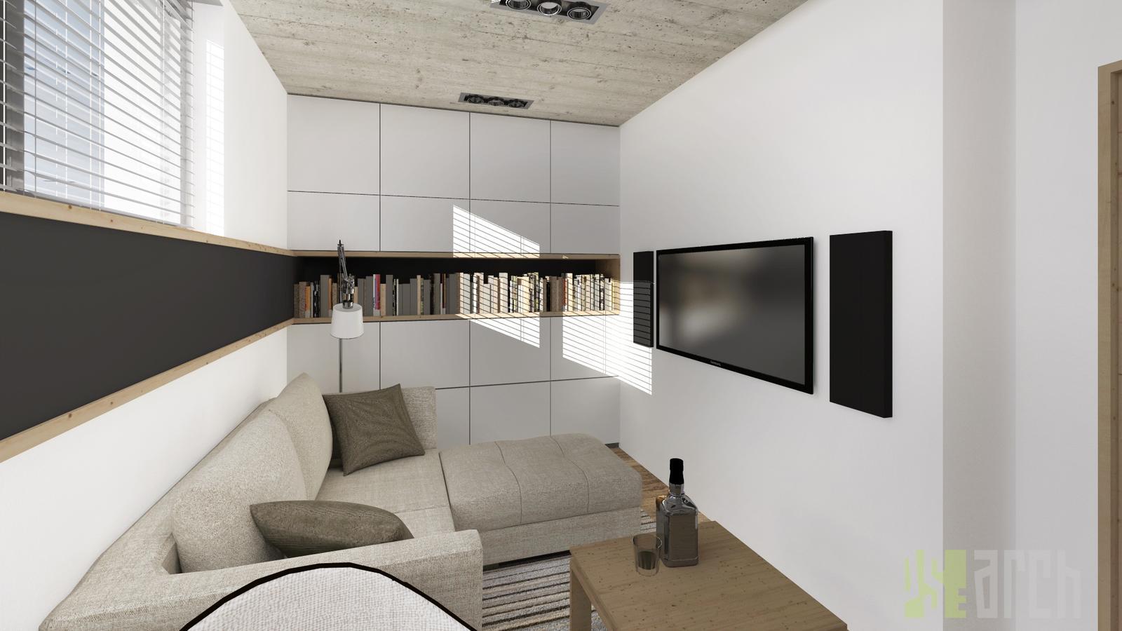 Interiér vizualizácie - hostovská, pracovňa a manželova detská izba v jednom :-)