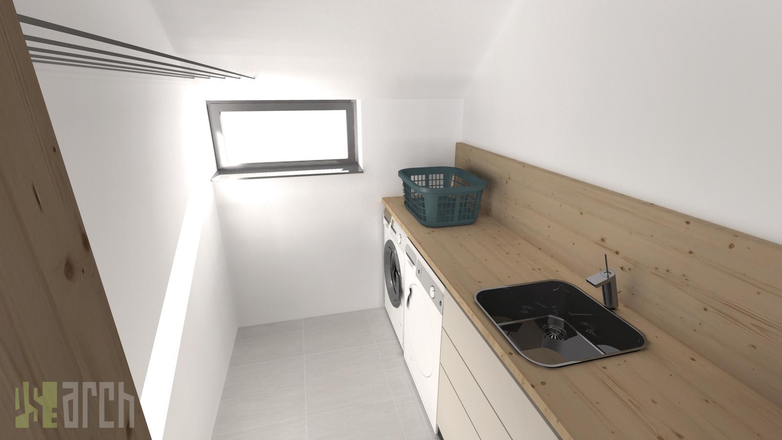 Interiér vizualizácie - práčovňa na poschodí