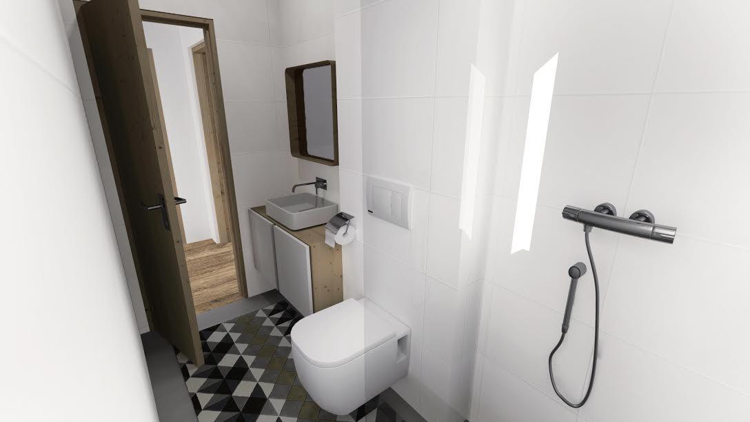 Interiér vizualizácie - kúpelňa na prízemí