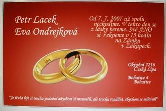 Naše svatební oznámení, které jsem si vyrobili sami :-)