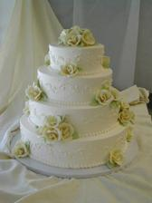 Wedding cake no. 2, len listky budu viac zelene a ruzicky biele
