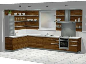 návrh kuchynskej linky dýha orech