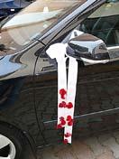 výzdoba auta jen takto jedodušše lila stuha