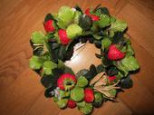 Dekorace pro svíčku -jahody,
