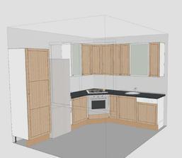 Návrh kuchyně - pouze kvůli umístění vařícího a umývacího centra