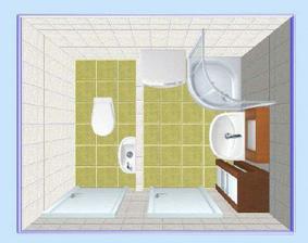 dispoziční řešení wc a koupelny. Záchod je předsunutý, za ním je nutno si představit stoupačky. Pouze orientační návrh.