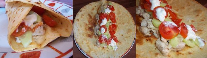 Tortilla s kuřecím masem, sýrem, okurkou, rajčaty a tatarskou omáčkou