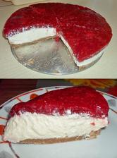 Malinový jemný nepečený cheesecake