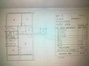 Pôvodný pôdorys s výmerou miestností.