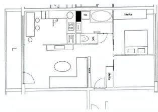 ... a toto je výsledný pôdorys - zrušený prechod cez kúpelňu do kuchyne, dvere do spálne a pracovne budú zasúvacie (do steny).