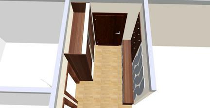 Takto bude vyzerať chodba - za dverami veľká skriňa, oproti botník po celej dĺžke až po vstup do obývačky. Všetko na mieru, využívam každý milimeter.