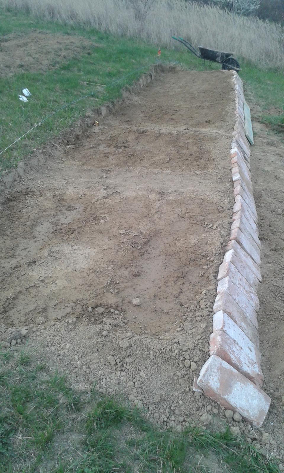 Okolie domu, záhrada - 2.4.2016 - Manželku napadlo spevniť terasovú záhradku tehlami. Celkom dobre to ukázalo, nato že to je provizórne a dočastne.