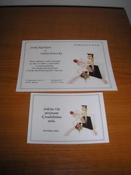 Prípravy 2.5.2009 2.časť - Hotové svadobné oznámenie s pozvánkou