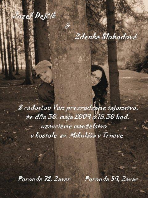 Zdenka & Dodo -  Naše oznámenie
