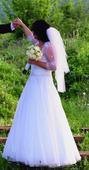 svadobné šaty, závoj, bolerko, 42