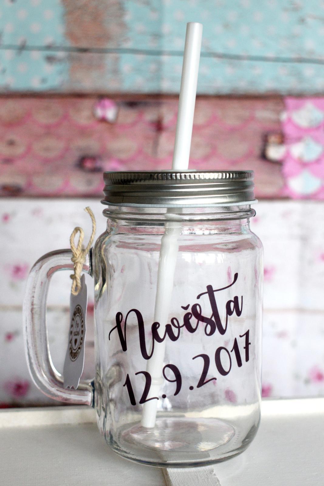 erika_rekniano - sklenice mason jar pro nevěstu/družičku/svědkyni