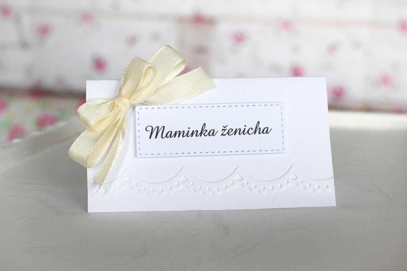 erika_rekniano - hand made svatební jmenovka na stůl s mašlí