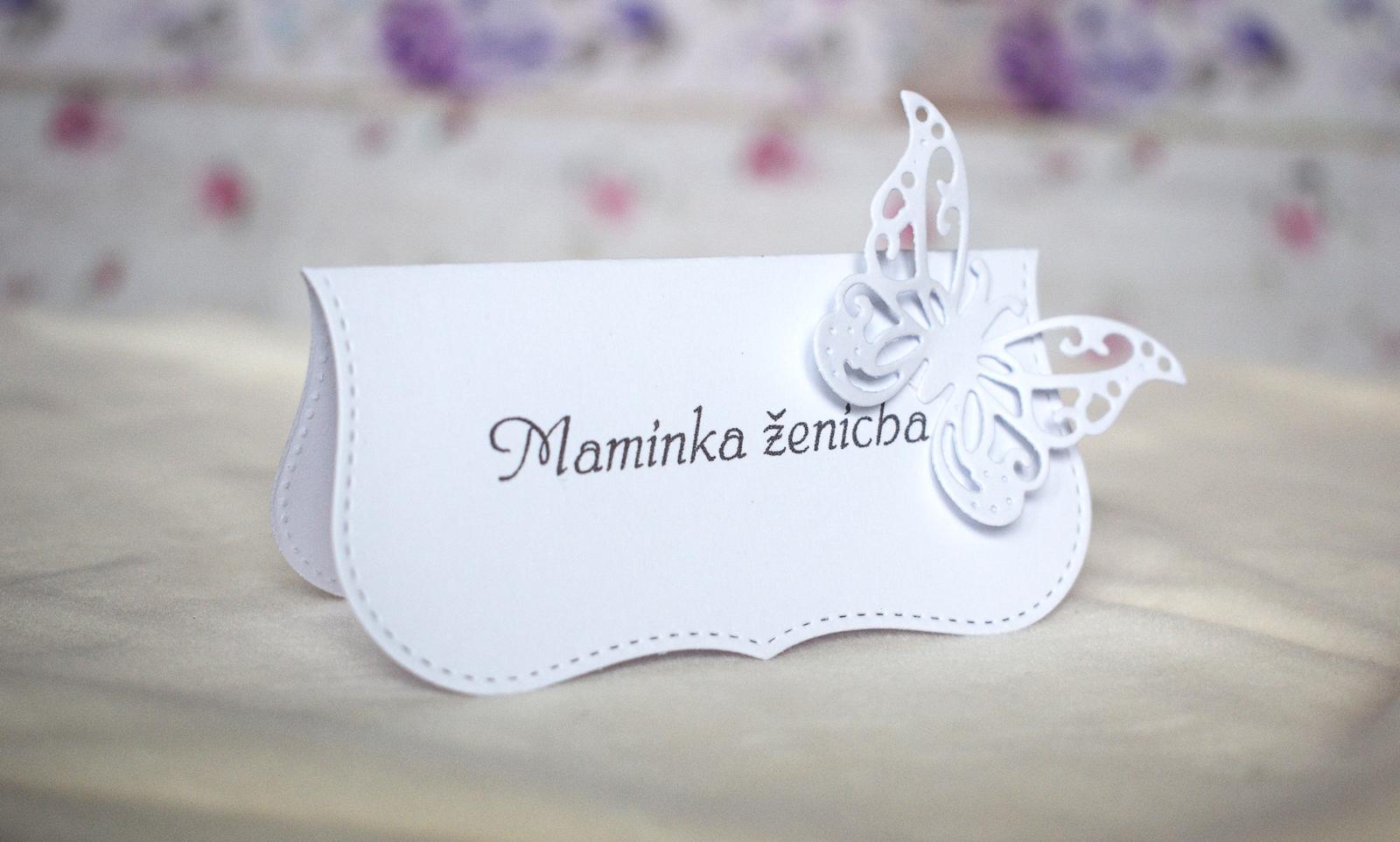 erika_rekniano - hand made svatební jmenovka na stůl s motýlkem