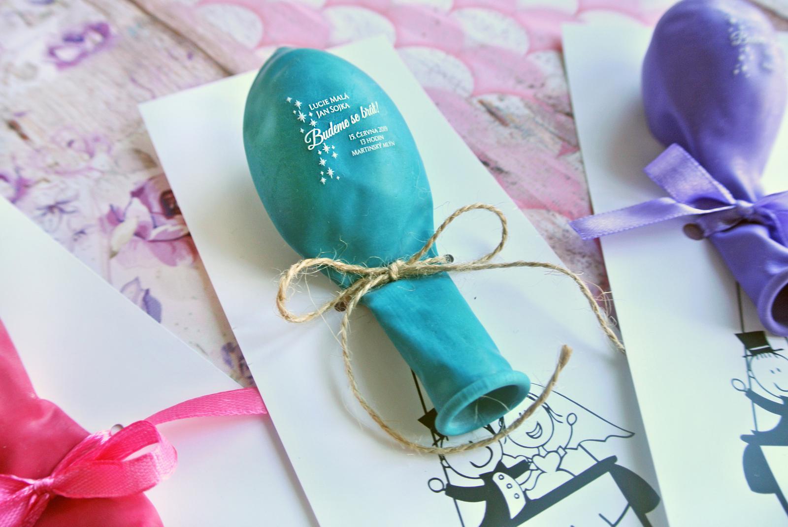 Originální balonkové svatební oznámení - Obrázek č. 1