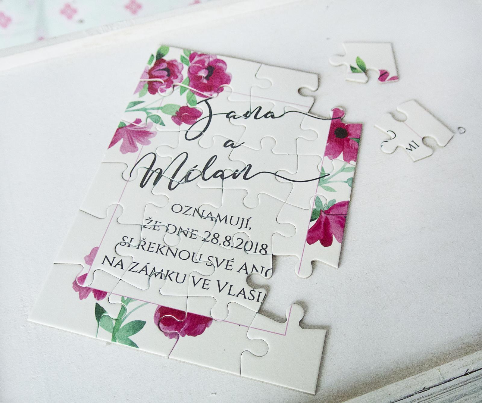 puzzle svatební oznámení - Obrázek č. 1