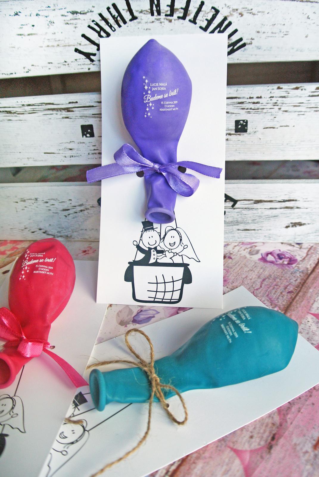 originální balonkové svatební oznámení - Obrázek č. 3