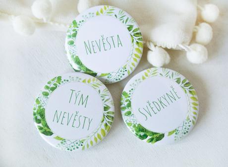 Buttonky/placky pro nevěstu a její tým - Obrázek č. 1