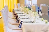 Damaškové svadobné obrusy White/ Royal blue,