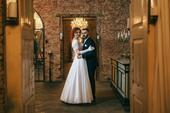 Saténové svadobné šaty s čipkou, 38