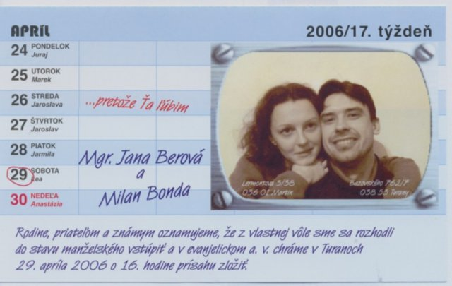 Jana{{_AND_}}Milan - Nase oznamenie