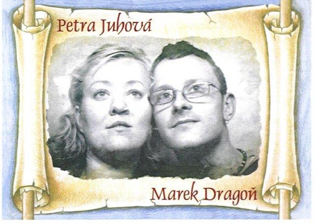 Petra a Marek - Predná strana nášho svadobného oznámenia na ktorej sme my dvaja.
