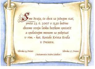 Zadná strana nášho oznamka so slovenským textom.