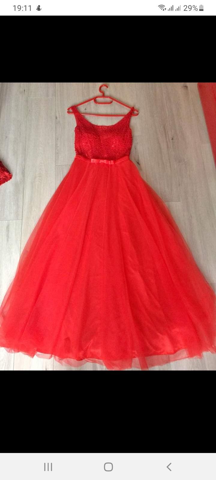 Červené dlouhé šaty, vel..S - Obrázek č. 1