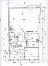 Tady ještě není zakreslený posun toho zalomení v kuchyni na 1800mm;sloupek u až zdi a teras.dveře zpět jak byly
