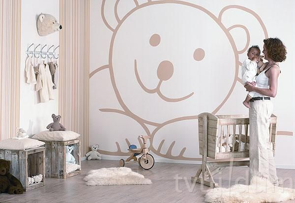 Vie niekto či sa dá kúpiť takáto tapeta??? Alebo len namalovať velmi by som toho macka chcela do detskej izby - Obrázok č. 1