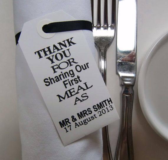 Hosté ocení - Když jim poděkujete.. Děkujeme, že s námi sdílíte naše první jídlo jako pán a paní...