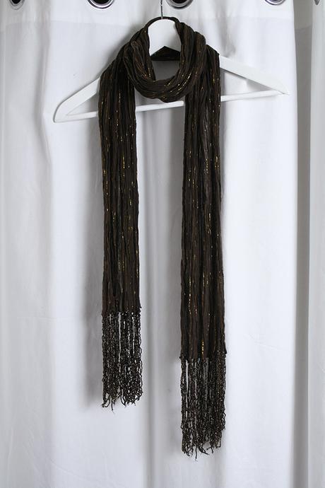 Elegantná hnedozlatá šatka so strapcami - Obrázok č. 1