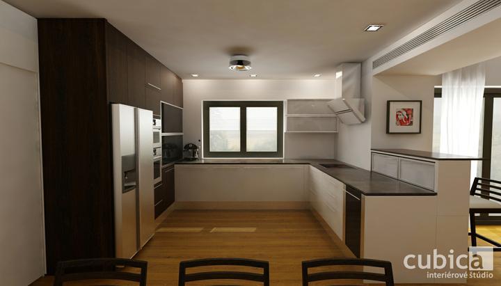 Návrh spojenej kuchyne s jedálňou - kuchynská linka s jedálňou v prevedení biela lesk + wenge