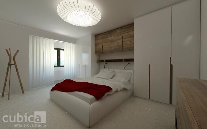 Návrh interiéru spálne Bratislava - spálňa v kombinácií biela lesklá farba a dýha orech americký - Variant 1