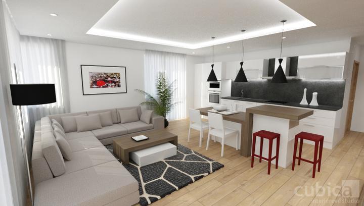 Návrh interiéru bytu - Návrh kuchyne s jedálňou a obývačkou