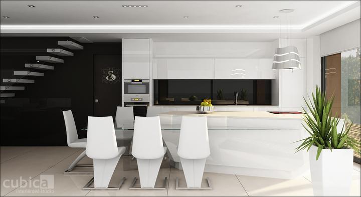 Návrh interiéru domu nad jazerom - kuchyňa s jedálňou