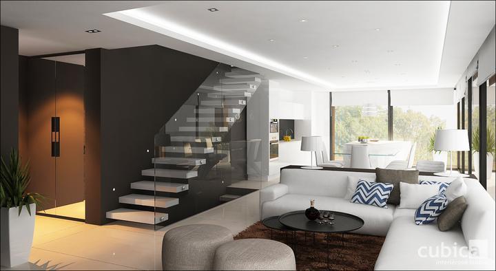 Návrh interiéru domu nad jazerom - obývacia izba s kuchyňou a jedálňou